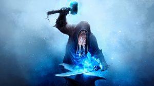 ハンマーで剣を鍛えているイメージ