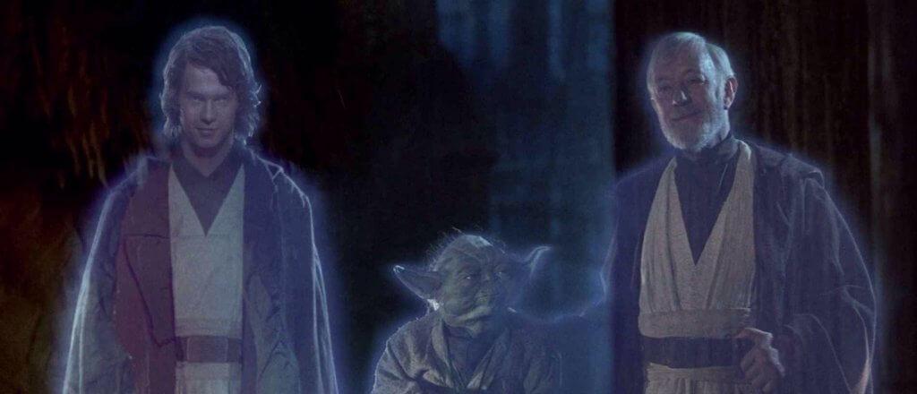 左から:アナキン・スカイウォーカー、ヨーダ、オビ=ワン・ケノービの霊体